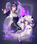 1girl bangs blackberry_cookie breasts candle candlestand column cookie_run dress frilled_dress frills full_body ghost hand_on_hip highres holding holding_candle long_sleeves looking_at_viewer maid mary_janes parted_lips pillar puffy_long_sleeves puffy_sleeves purple_dress purple_footwear purple_hair shoes short_hair solo straight_hair striped striped_legwear user_utwk4575 violet_eyes