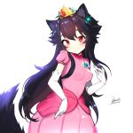 1girl ahoge animal_ears bangs black_hair blush breasts brooch chinese_commentary closed_mouth commentary_request cosplay crown dated dress ejami ekko_(ejami) elbow_gloves eyebrows_visible_through_hair fox_ears fox_girl fox_tail gem gloves heart heart-shaped_pupils jewelry long_hair looking_at_viewer mario_(series) original pink_dress princess_peach princess_peach_(cosplay) puffy_short_sleeves puffy_sleeves red_eyes sapphire_(gemstone) short_sleeves sidelocks signature simple_background small_breasts solo symbol-shaped_pupils tail very_long_hair white_background white_gloves