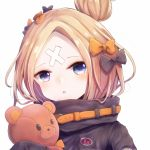 1girl abigail_williams_(fate/grand_order) bandaid bandaid_on_face bangs black_bow blonde_hair blue_eyes blush bow commentary_request face fate/grand_order fate_(series) hair_bow hair_bun highres looking_at_viewer medium_hair number orange_bow parted_bangs pero_1005 polka_dot polka_dot_bow solo stuffed_animal stuffed_toy teddy_bear