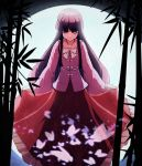 1girl bamboo bamboo_forest black_hair bow bowing bowtie bug butterfly closed_eyes collared_shirt floral_print forest frilled_skirt frills full_moon highres hime_cut houraisan_kaguya insect long_hair long_skirt long_sleeves moon moonlight nature pink_shirt rayasi red_skirt shirt skirt touhou white_bow white_neckwear wide_sleeves