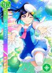 blue_hair blush character_name dress long_hair love_live!_school_idol_festival love_live!_sunshine!! matsuura_kanan ponytail smile violet_eyes wink