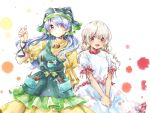 2girls apron blonde_hair blue_hair bow commentary_request cowboy_shot dress earlobes ebisu_eika eyebrows_visible_through_hair fingernails flower frilled_sleeves frills green_apron green_bow green_headwear hand_up haniyasushin_keiki head_scarf long_hair looking_at_viewer magatama magatama_necklace multiple_girls open_mouth own_hands_together puffy_short_sleeves puffy_sleeves red_eyes shirt short_sleeves skirt smile sora_utsuro_(ameya) tools touhou violet_eyes white_background white_shirt white_skirt yellow_dress