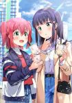 2girls :d bag bangs black_hair black_jacket blue_pants blue_skirt blush breasts brown_coat bubble_tea building cellphone coat collared_shirt commentary_request cup day disposable_cup dress_shirt drinking_straw eyebrows_visible_through_hair green_eyes hair_between_eyes hair_ornament handbag heart heart_hair_ornament holding holding_cellphone holding_cup holding_phone jacket kurosawa_dia kurosawa_ruby long_hair long_sleeves love_live! love_live!_sunshine!! multiple_girls open_clothes open_coat open_mouth outdoors pants phone redhead shaka_(staito0515) shirt shoulder_bag siblings sisters skirt small_breasts smile sunlight sweater_vest two_side_up white_shirt