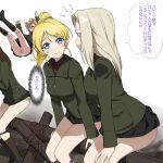 4girls a1 ayase_eli beige_panties black_skirt blonde_hair blue_eyes clara_(girls_und_panzer) commentary_request crossover fence girls_und_panzer gradient gradient_background green_jacket hair_ribbon jacket katyusha_(girls_und_panzer) long_hair long_sleeves love_live! love_live!_school_idol_project military military_uniform multiple_girls nonna_(girls_und_panzer) pleated_skirt ponytail pravda_military_uniform red_shirt ribbon scrunchie shirt sitting skirt trait_connection translation_request turtleneck uniform white_background white_scrunchie