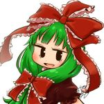 1girl avatar_icon bow chamaji commentary dress eyebrows_visible_through_hair frilled_ribbon frills front_ponytail green_hair hair_bow hair_ribbon kagiyama_hina long_hair looking_at_viewer lowres open_mouth puffy_short_sleeves puffy_sleeves red_dress red_ribbon ribbon short_sleeves signature smile solo touhou upper_body white_background