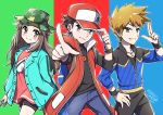 1girl 2boys adjusting_clothes adjusting_hat blue_(pokemon) blush brown_eyes brown_hair hat highres jacket jewelry long_hair looking_at_viewer mono_land multiple_boys necklace ookido_green pointing pointing_at_viewer pokemon pokemon_(game) pokemon_masters red_(pokemon) smile spiky_hair