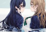 2girls ayase_eli blonde_hair blue_eyes blue_hair commentary_request highres long_hair long_sleeves looking_at_another love_live! love_live!_school_idol_project multiple_girls otonokizaka_school_uniform ponytail school_uniform sonoda_umi striped striped_neckwear suito wet wet_clothes wet_hair yellow_eyes