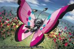 2015 black_eyes blue_sky bug butterfly clouds cloudy_sky creature day flying full_body gen_6_pokemon insect match_(idleslumber) no_humans outdoors pokemon pokemon_(creature) pokemon_trading_card_game sky solo vivillon vivillon_(meadow) watermark