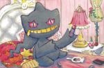 banette bed creature gen_3_pokemon grin holding holding_lipstick_tube indoors lampshade lipstick looking_at_viewer makeup mirror no_humans official_art pillow pink_eyes pokemon pokemon_(creature) pokemon_trading_card_game sitting smile solo third-party_source yamaki_eri