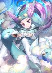 1girl altaria blue_footwear blue_headwear blue_sky blue_suit breasts commentary_request floating_hair flying full_body gen_3_pokemon gloves gym_leader head_tilt helmet highres interlocked_fingers long_hair long_sleeves looking_at_another low_ponytail medium_breasts nagi_(pokemon) pilot_suit pokemon pokemon_(creature) pokemon_(game) pokemon_oras purple_hair riding_pokemon shoes sky smile solo_focus swablu twitter_username violet_eyes white_gloves white_legwear wind yamanashi_taiki