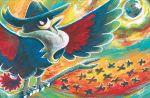 bird bird_focus branch brown_eyes claws flying gen_4_pokemon honchkrow komiya_tomokazu official_art pokemon pokemon_trading_card_game solo_focus standing