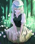 1girl apron bangs blue_dress bow braid dress flower forest frilled_apron frilled_skirt frills green_bow hair_bow highres izayoi_sakuya maid maid_apron maid_headdress nature puffy_short_sleeves puffy_sleeves scroll_lock_(scrool5) short_hair short_sleeves silver_hair skirt solo touhou twin_braids