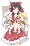 3girls :3 animal_ears barefoot black_hair blonde_hair brown_eyes carrying cloud_print collared_shirt curly_hair dual_persona gold grey_eyes hair_ribbon hair_tubes hakurei_reimu highres horn jeffree07 kariyushi_shirt komano_aun long_hair long_sleeves multiple_girls ribbon shirt short_sleeves shorts silver_hair simple_background skirt smile touhou yellow_eyes yellow_ribbon