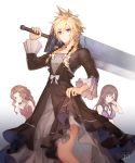 1boy 2girls aerith_gainsborough black_dress black_hair blonde_hair blue_eyes bow braid brown_eyes brown_hair buster_sword cloud_strife crossdressing dress final_fantasy final_fantasy_vii final_fantasy_vii_remake frilled_sleeves frills green_eyes hair_bow highres jewelry looking_at_viewer multiple_girls necklace over_shoulder purple_dress red_dress sasanomesi spiky_hair sword tifa_lockhart twin_braids weapon weapon_over_shoulder