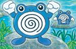 baba_yukiko black_eyes clenched_hands creature day full_body gen_1_pokemon hands_up looking_at_viewer nature no_humans official_art outdoors plant pokemon pokemon_(creature) pokemon_trading_card_game poliwhirl rock sitting standing third-party_source water