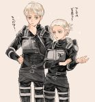 1boy 1girl annie_leonhardt armin_arlert belt blonde_hair blue_eyes chin_stroking emblem height_difference logo long_sleeves open_mouth paradis_military_uniform ponytail shingeki_no_kyojin short_hair strap survey_corps survey_corps_(emblem) talking thigh_strap thinking three-dimensional_maneuver_gear tied_hair tonshi uniform