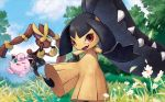 ;d blue_sky closed_mouth clouds cloudy_sky creature day flower forest gen_1_pokemon gen_3_pokemon gen_4_pokemon grass green_eyes happy jigglypuff kodama_(artist) looking_at_viewer lopunny mawile mega_lopunny mega_pokemon nature no_humans official_art one_eye_closed open_mouth outdoors pink_eyes pokemon pokemon_(creature) pokemon_trading_card_game rabbit sky smile standing standing_on_one_leg third-party_source tree violet_eyes