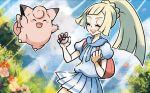 :d ^_^ backpack bag bangs blonde_hair blue_sky clefairy closed_eyes creature day eyelashes facing_another facing_viewer fang flat_chest flower gen_1_pokemon grass happy holding holding_poke_ball ibe_mana jumping lillie_(pokemon) official_art open_mouth outdoors pleated_skirt poke_ball poke_ball_(generic) pokemon pokemon_(creature) pokemon_(game) pokemon_trading_card_game pokemon_usum ponytail shirt sidelocks skirt sky smile standing sunlight white_shirt white_skirt