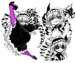 1girl :> black_sclera drill_hair evil evil_eyes gothic gothic_lolita highres juugoya_(zyugoya) kicking lolita_fashion musuko_ga_kawaikute_shikatanai_mazoku_no_hahaoya nightmare_(musuko_ga_kawaikute_shikatanai_mazoku_no_hahaoya) purple_legwear violet_eyes