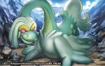 2017 black_eyes creature day dragon drampa gen_7_pokemon looking_to_the_side match_(idleslumber) no_humans outdoors pink_eyes pokemon pokemon_(creature) pokemon_trading_card_game rock solo watermark