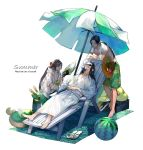 3boys bangs barefoot beach_towel beach_umbrella beard black_hair border0715 box bubble_tea chair closed_eyes closed_mouth collarbone cup disposable_cup drink facial_hair fan feather_fan flower food fruit full_body goatee green_shorts hair_flower hair_ornament hands_on_own_stomach hands_together hat hat_flower hat_removed headwear_removed hibiscus highres holding holding_drink holding_fan hood hood_down hooded_jacket innertube jacket japanese_clothes jiang_wei karakusa_(pattern) kimono looking_at_another lounge_chair lying male_focus male_swimwear melon multiple_boys navel on_back open_clothes open_jacket open_mouth parted_bangs ponytail red_flower sandals sandals_removed sangoku_musou scrunchie shin_sangoku_musou shirtless short_sleeves shorts simple_background smile standing straw_hat sunglasses swim_trunks swimwear towel towel_around_neck umbrella watermelon white_background white_kimono wrist_scrunchie zhao_yun zhuge_liang