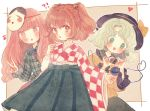 !? 3girls :o beige_background bell blush brown_eyes checkered checkered_kimono chestnut_mouth commentary_request green_eyes green_hair green_skirt hair_bell hair_ornament hat hat_ribbon hata_no_kokoro heart heart-shaped_pupils heart_hands heart_of_string japanese_clothes jingle_bell kimono long_sleeves looking_at_viewer mask mask_on_head motoori_kosuzu multiple_girls musical_note noh_mask open_mouth orange_hair outline outside_border parted_lips pink_eyes pink_hair plaid plaid_shirt ribbon shirt skirt symbol-shaped_pupils third_eye touhou two_side_up v wavy_hair wide_sleeves yellow_shirt yujup