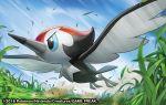 2016 bird bird_focus blue_eyes blue_sky creature day flying full_body gen_7_pokemon grass match_(idleslumber) no_humans official_art outdoors pikipek pokemon pokemon_(creature) pokemon_trading_card_game sky solo watermark