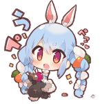 1girl animal_ear_fluff animal_ears bangs bare_shoulders black_gloves blonde_hair blush bow braid brown_eyes carrot_hair_ornament chibi commentary_request dress eyebrows_visible_through_hair food_themed_hair_ornament fur-trimmed_dress fur-trimmed_gloves fur_trim gloves hair_between_eyes hair_bow hair_ornament hololive long_hair multicolored multicolored_eyes multicolored_hair muuran open_mouth rabbit_ears short_eyebrows signature simple_background solo strapless strapless_dress thick_eyebrows translation_request twin_braids twintails two-tone_hair upper_teeth usada_pekora very_long_hair violet_eyes virtual_youtuber white_background white_bow white_dress white_hair
