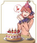 1girl birthday_cake blush border breasts cake candle closed_eyes dress ebinku eyebrows_visible_through_hair fire_emblem fire_emblem_echoes:_shadows_of_valentia food fork fruit genny_(fire_emblem) hairband hands_clasped hands_together hat heart highres jewelry long_sleeves medium_hair necklace open_mouth own_hands_together party_hat pendant pink_dress pink_hair plate simple_background small_breasts smile solo spoken_heart strawberry table white_background