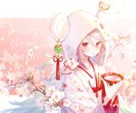 1girl 2020 :o artist_name bangs branch cherry_blossoms chinese_zodiac cup dated english_text fan folding_fan happy_new_year holding hood hood_up ibara_riato japanese_clothes kimono long_sleeves looking_at_viewer mouse mouse_hood new_year original parted_lips petals pink-framed_eyewear pink_eyes rope sakazuki shimenawa signature solo swept_bangs uchikake white_kimono wide_sleeves wind_chime year_of_the_rat