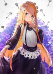 1girl abigail_williams_(fate/grand_order) absurdres bangs black_dress blonde_hair blue_eyes bow butterfly_hair_ornament closed_mouth collared_dress commentary_request dress fate/grand_order fate_(series) flower forehead grey_background hair_bow hair_ornament highres key keyhole long_hair long_sleeves looking_at_viewer parted_bangs puffy_long_sleeves puffy_sleeves purple_flower shirt skirt_hold smile solo sparkle very_long_hair wang_man white_bow white_shirt