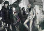 1girl 5boys animal_hood bandages bangs black_coat black_eyes black_hair black_sclera black_shirt blazer blonde_hair blue_hair bunny_hood coat dress_shirt eto_(tokyo_ghoul) facial_hair facial_mask formal gas_mask ghoul height_difference hood hoodie infukun jacket kirishima_ayato long_hair long_sleeves looking_at_viewer male_focus mask masked medium_hair multiple_boys mustache naki_(tokyo_ghoul) noro_(tokyo_ghoul) ponytail red_eyes ruins scarf shachi_(tokyo_ghoul) shirt short_hair silver_hair suit tatara_(tokyo_ghoul) teeth tied_hair tokyo_ghoul torn_clothes wavy_hair white_coat white_hair white_suit