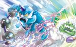 anesaki_dynamic creature floating gen_5_pokemon horn horns muscle no_humans official_art pokemon pokemon_(creature) pokemon_trading_card_game third-party_source thundurus tornadus yellow_eyes