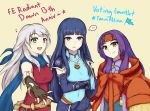 3girls :d altina anniversary arm_guards bangle belt black_gloves black_legwear blue_eyes blue_hair blue_scarf bracelet copyright_name covered_navel dress elbow_gloves fire_emblem fire_emblem:_radiant_dawn fire_emblem_heroes gloves hair_ribbon half_updo headband highres hime_cut jewelry long_hair long_sleeves looking_at_viewer micaiah_(fire_emblem) mini_flag multiple_girls musical_note open_mouth outstretched_arm oversized_clothes poiramee purple_hair red_headband ribbon sanaki_kirsch_altina scarf shoulder_armor side_slit silver_hair simple_background sleeveless sleeveless_dress smile sweatdrop turtleneck wide_sleeves yellow_eyes