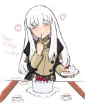 1girl banelon cake closed_eyes cup dated eating fire_emblem fire_emblem:_three_houses food fork fruit garreg_mach_monastery_uniform happy_birthday highres holding holding_fork long_hair long_sleeves lysithea_von_ordelia plate simple_background solo strawberry table teacup twitter_username uniform white_background white_hair