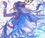 1girl azura_(fire_emblem) blue_hair closed_eyes detached_sleeves dress english_commentary fingerless_gloves fire_emblem fire_emblem_fates fire_emblem_heroes from_side gloves jef_(fe89392148) long_hair open_mouth splashing standing veil very_long_hair water white_dress