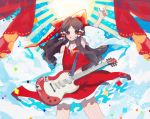 1girl arm_up blue_background blush bow brown_hair clouds confetti cowboy_shot curtains detached_sleeves electric_guitar frills grin guitar hair_bow hair_tubes hakurei_reimu highres instrument long_hair looking_at_viewer pointing pointing_up red_bow red_eyes red_shirt red_skirt shirt skirt smile solo sparkle sun sunburst takushiima touhou wide_sleeves wind yellow_neckwear