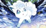 :o alolan_form alolan_vulpix blue_eyes creature full_body gen_7_pokemon nagimiso no_humans official_art pokemon pokemon_(creature) pokemon_trading_card_game solo