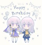 2girls age_comparison chibi closed_mouth cupcake dress dual_persona fire_emblem fire_emblem:_three_houses food garreg_mach_monastery_uniform hair_ornament happy_birthday holding_hands long_hair long_sleeves lysithea_von_ordelia multiple_girls open_mouth rimooo_n simple_background smile uniform white_background white_hair