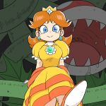 1girl blue_eyes brown_hair crossed_legs crown dress earrings flower_earrings gloves ishii_junnosuke jewelry long_dress looking_at_viewer mario_(series) piranha_plant princess_daisy puffy_short_sleeves puffy_sleeves short_sleeves solo super_mario_bros. white_gloves yellow_dress