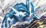 creature dialga fangs full_body gen_4_pokemon legendary_pokemon looking_to_the_side nagimiso no_humans official_art outdoors pokemon pokemon_(creature) pokemon_trading_card_game red_eyes rock solo standing third-party_source wind