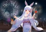 1girl animal_ear_fluff animal_ears bag bangs blue_hair blue_kimono blush bunny_girl candy_apple carrot fireworks flower food furisode hair_flower hair_ornament holding holding_bag hololive japanese_clothes kimono long_hair looking_at_viewer new_year night obi official_art open_mouth outdoors rabbit_ears round_teeth sash scarf snozaki solo teeth usada_pekora virtual_youtuber white_hair