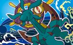 anchor blue_sky brown_eyes creature day dhelmise full_body gen_7_pokemon looking_at_viewer no_humans ocean official_art outdoors outline pokemon pokemon_(creature) pokemon_trading_card_game sky solo third-party_source umemoto_kyouko water waves white_outline