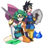 2girls asymmetrical_clothes black_hair blue_eyes breasts cape circlet curly_hair dragon_quest dragon_quest_iii dragon_quest_iv gloves green_hair heroine_(dq4) leotard looking_at_viewer maruta_kentarou multiple_girls open_mouth roto shield short_hair simple_background slime_(dragon_quest) smile sword weapon white_background