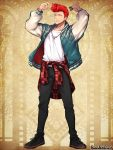 1boy black_footwear black_pants comb earrings facing_viewer holding holding_comb jacket jewelry long_sleeves male_focus morino_bambi necklace pandora_party_project pants plaid pompadour redhead shirt simple_background solo standing white_shirt yellow_background