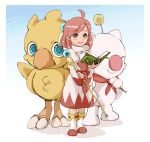 1girl ahoge blue_eyes blush book boots chocobo closed_mouth final_fantasy final_fantasy_fables gekkeiyou green_eyes highres moogle pink_hair robe shirma short_hair smile staff