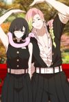 1boy 1girl :d ^_^ arm_up bandage_on_face bangs bare_arms bare_shoulders belt belt_buckle black_hair black_jacket black_pants black_skirt blue_eyes blurry blurry_background braid breasts buckle closed_eyes collarbone collared_shirt commentary covered_mouth day depth_of_field dishwasher1910 dress_shirt english_commentary eyebrows_visible_through_hair facing_viewer genderswap genderswap_(ftm) genderswap_(mtf) gradient_hair green_hair hair_over_shoulder heterochromia highres iguro_obanai jacket kanroji_mitsuri kimetsu_no_yaiba leaning_to_the_side long_hair medium_breasts mole mole_under_eye multicolored_hair open_clothes open_jacket open_mouth open_shirt outdoors pants pink_hair pleated_skirt shirt short_sleeves skirt sleeveless sleeveless_jacket sleeveless_shirt smile twitter_username very_long_hair white_belt white_shirt yellow_eyes