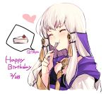 1girl cake closed_eyes dated eating fire_emblem fire_emblem:_three_houses food fork hair_ornament happy_birthday holding holding_fork long_hair lysithea_von_ordelia naho_(pi988y) simple_background solo twitter_username upper_body white_background white_hair