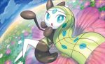 creature day flower full_body gen_5_pokemon grass green_hair long_hair looking_at_viewer meloetta meloetta_(aria) nagimiso no_humans official_art outdoors pokemon pokemon_(creature) pokemon_trading_card_game solo third-party_source