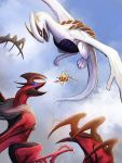 beedrill blue_sky claws clouds cloudy_sky commentary day english_commentary eye_contact flying gen_1_pokemon gen_2_pokemon gen_6_pokemon highres looking_at_another lugia no_humans outdoors pokemon size_difference sky tapwing yveltal